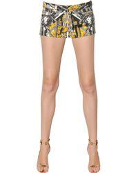 Versus | Printed Stretch Denim Shorts | Lyst