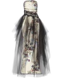 Notte By Marchesa Floral-print Tulle and Faille Gown - Lyst