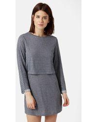 Topshop Stripe Overlay Dress - Lyst