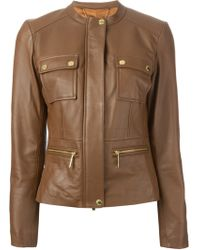 MICHAEL Michael Kors Round Neck Fitted Jacket - Lyst