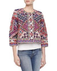 Christophe Sauvat - Linda Multicolor Embroidered Cropped Jacket - Lyst
