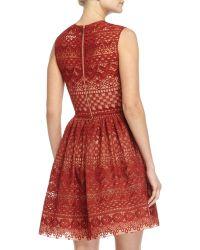 Elie Saab | Sleeveless Fit-&-flare Lace Dress | Lyst