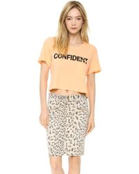 Textile Elizabeth And James Confident Cropped Selena Tee Orangeblack - Lyst