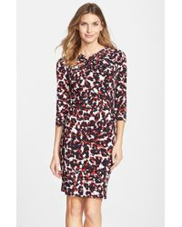 Adrianna Papell Print Keyhole Jersey Sheath Dress - Lyst