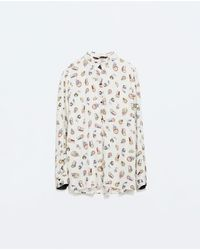 Zara Printed Blouse with Back Detail - Lyst