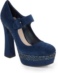 Miu Miu Glitter-coated Suede Mary Jane Platform Pumps - Lyst