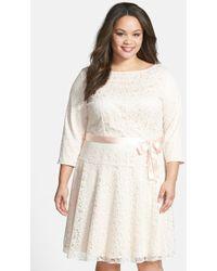 Tahari Flocked Lace Drop Waist Dress - Lyst
