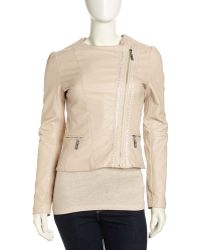 Betsey Johnson Asymmetric Cropped Fauxleather Moto Jacket - Lyst
