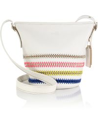 Coach Mini Multicolor Whipstitched & Chain-Accented Crossbody Bag white - Lyst