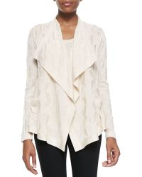M Missoni Solid Textured Knit Cardigan with Ruffle Collar - Lyst