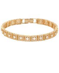 Pori - 18k White Gold Plated Sterling Silver Square Cz Bracelet - Lyst