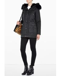 Parka London Greta Black Parka with Fur Hood - Lyst