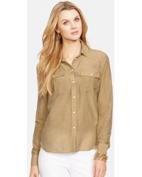 Lauren by Ralph Lauren Petite Women'S Cotton & Silk Roll Sleeve Shirt - Lyst