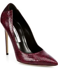 Brian Atwood Mercury Snakeskin & Suede Pumps - Lyst