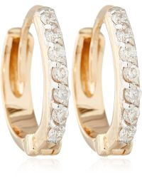 Kismet by Milka - Rose Gold And White Diamond Mini Hoops - Lyst