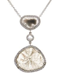 Susan Foster - Diamond Slice & White-Gold Necklace - Lyst