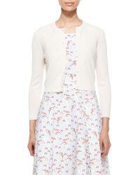 Carolina Herrera Cashmere-Silk Button Cardigan white - Lyst
