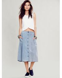 Free People Mariana Buttondown Skirt - Lyst