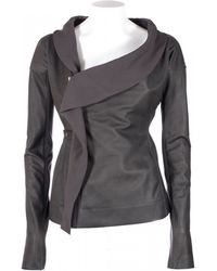 "Rick Owens Grey Leather ""Scarf Biker"" Jacket - Lyst"