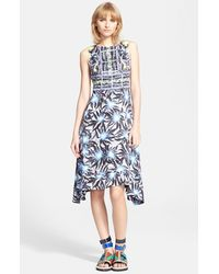 Peter Pilotto Print Shark Bite Hem Silk Jacquard Dress - Lyst