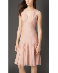Burberry Silk Organza Flared Skirt Dress - Lyst