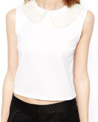 Asos Shell Top With Lace Collar - Lyst