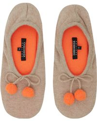 CASH CA - Light Beige Pom Pom Cashmere Slippers - Lyst