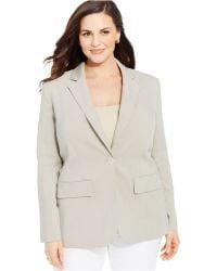 Jones New York Collection Plus Size One-Button Blazer beige - Lyst