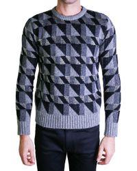 Saint Laurent | Black And Silver Geometric Sweater | Lyst