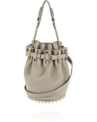 Alexander Wang Exclusive Small Diego In Pebbled Oyster With Pale Gold - Lyst
