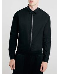 LAC - Bk Long Sleeve Faux Leather Trim Shirt - Lyst