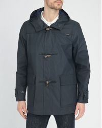 Gloverall Navy Waxed Long And Hooded Raincoat blue - Lyst