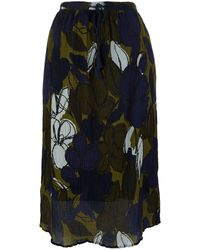Paul by Paul Smith - Green Crinkle Floral Printed Midi Skirt - Lyst