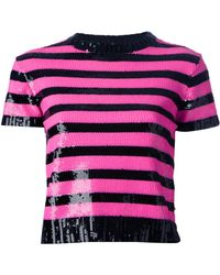 Saint Laurent Striped Sequin Sweater - Lyst
