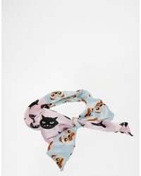 Asos Headscarf in Pug and Cat Print - Lyst