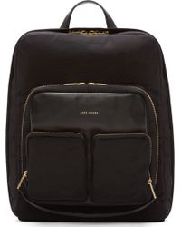 Marc Jacobs Black Structured Textile and Leather Backpack - Lyst