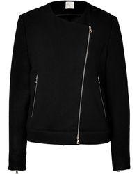 L'Agence Wool Blend Biker Jacket - Lyst
