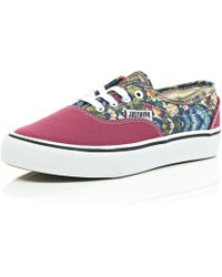 River Island Pink Hype Floral Canvas Trainers - Lyst