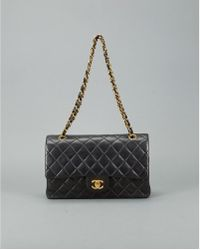 Chanel Preowned Black Quilted Lambskin Medium Double Flap Bag - Lyst