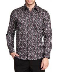 T.R. Premium - Printed Long Sleeve Button Down Shirt - Lyst