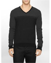 Calvin Klein White Label Striped Cotton V-Neck Sweater black - Lyst