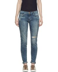 Current/Elliott Blue The Ankle Skinny Jeans - Lyst