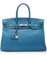 Heritage Auctions Special Collection Hermes 35cm Blue Jean Clemence Birkin - Lyst