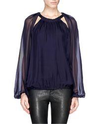Lanvin Sheer Sleeve Silk Chiffon Top - Lyst