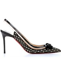 Christian Louboutin Platine Glitter Floque And Black Patent Leather 'Suspenodo 85' Slingback Pumps - Lyst