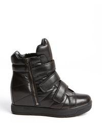 Prada Black Leather Fastening Tape Side Zip Boots - Lyst