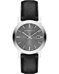 Burberry Check Engraved Stamp Stainless Steel Watch silver - Lyst