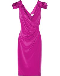 Badgley Mischka Ruched Silk Blend Dress - Lyst