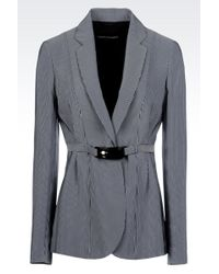 Emporio Armani Jacket In Micro Striped Cady - Lyst