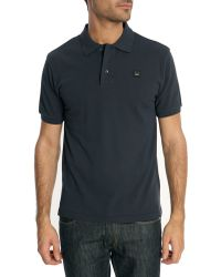 Acne Studios Kolby Navy Blue Cotton Polo Shirt With Face Logo - Lyst